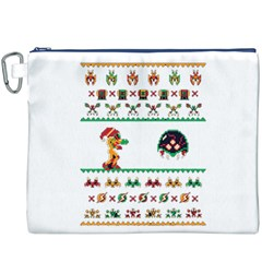We Wish You A Metroid Christmas Ugly Holiday Christmas Canvas Cosmetic Bag (xxxl) by Onesevenart
