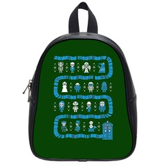 Who Is Outside Ugly Holiday Christmas Green Background School Bags (small)  by Onesevenart