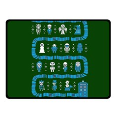 Who Is Outside Ugly Holiday Christmas Green Background Fleece Blanket (small) by Onesevenart