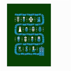 Who Is Outside Ugly Holiday Christmas Green Background Large Garden Flag (two Sides) by Onesevenart
