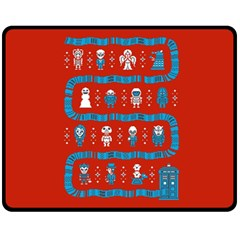 Who Is Outside Ugly Holiday Christmas Red Background Fleece Blanket (medium)  by Onesevenart