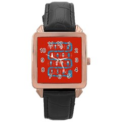 Who Is Outside Ugly Holiday Christmas Red Background Rose Gold Leather Watch  by Onesevenart