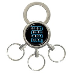 Who Is Outside Ugly Holiday Christmas Black Background 3 Ring Key Chains by Onesevenart