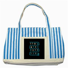 Who Is Outside Ugly Holiday Christmas Black Background Striped Blue Tote Bag by Onesevenart