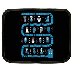 Who Is Outside Ugly Holiday Christmas Black Background Netbook Case (xxl)  by Onesevenart