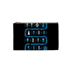 Who Is Outside Ugly Holiday Christmas Black Background Cosmetic Bag (small)  by Onesevenart