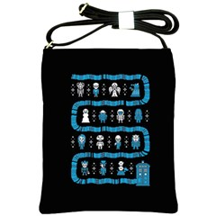 Who Is Outside Ugly Holiday Christmas Black Background Shoulder Sling Bags by Onesevenart