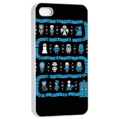 Who Is Outside Ugly Holiday Christmas Black Background Apple Iphone 4/4s Seamless Case (white) by Onesevenart