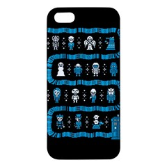Who Is Outside Ugly Holiday Christmas Black Background Apple Iphone 5 Premium Hardshell Case by Onesevenart