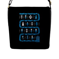 Who Is Outside Ugly Holiday Christmas Black Background Flap Messenger Bag (l)  by Onesevenart