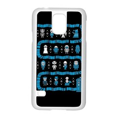 Who Is Outside Ugly Holiday Christmas Black Background Samsung Galaxy S5 Case (white) by Onesevenart
