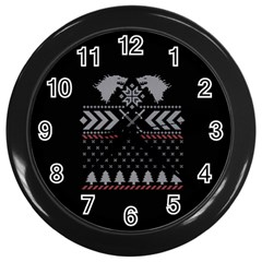 Winter Is Coming Game Of Thrones Ugly Christmas Black Background Wall Clocks (black) by Onesevenart