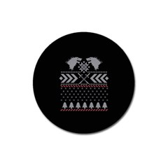Winter Is Coming Game Of Thrones Ugly Christmas Black Background Magnet 3  (round) by Onesevenart