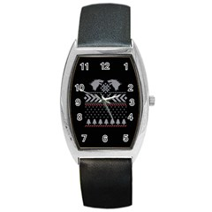 Winter Is Coming Game Of Thrones Ugly Christmas Black Background Barrel Style Metal Watch by Onesevenart