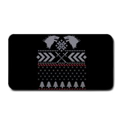 Winter Is Coming Game Of Thrones Ugly Christmas Black Background Medium Bar Mats by Onesevenart