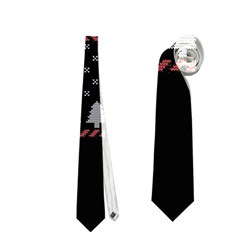 Winter Is Coming Game Of Thrones Ugly Christmas Black Background Neckties (two Side)  by Onesevenart