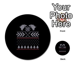Winter Is Coming Game Of Thrones Ugly Christmas Black Background Multi Purpose Cards (round)  by Onesevenart