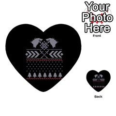 Winter Is Coming Game Of Thrones Ugly Christmas Black Background Multi Purpose Cards (heart)  by Onesevenart
