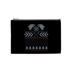 Winter Is Coming Game Of Thrones Ugly Christmas Black Background Cosmetic Bag (medium)  by Onesevenart
