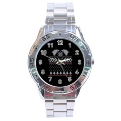 Winter Is Coming Game Of Thrones Ugly Christmas Black Background Stainless Steel Analogue Watch by Onesevenart