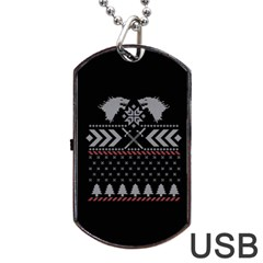 Winter Is Coming Game Of Thrones Ugly Christmas Black Background Dog Tag Usb Flash (one Side) by Onesevenart