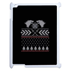 Winter Is Coming Game Of Thrones Ugly Christmas Black Background Apple Ipad 2 Case (white) by Onesevenart