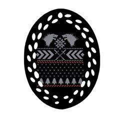 Winter Is Coming Game Of Thrones Ugly Christmas Black Background Ornament (oval Filigree)  by Onesevenart