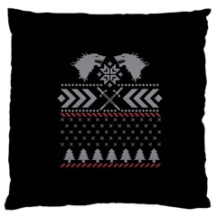 Winter Is Coming Game Of Thrones Ugly Christmas Black Background Large Cushion Case (two Sides) by Onesevenart