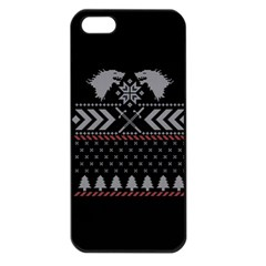 Winter Is Coming Game Of Thrones Ugly Christmas Black Background Apple Iphone 5 Seamless Case (black) by Onesevenart