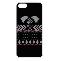 Winter Is Coming Game Of Thrones Ugly Christmas Black Background Apple Iphone 5 Seamless Case (white) by Onesevenart