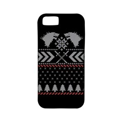 Winter Is Coming Game Of Thrones Ugly Christmas Black Background Apple Iphone 5 Classic Hardshell Case (pc+silicone) by Onesevenart