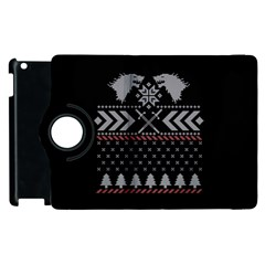 Winter Is Coming Game Of Thrones Ugly Christmas Black Background Apple Ipad 2 Flip 360 Case by Onesevenart