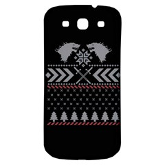 Winter Is Coming Game Of Thrones Ugly Christmas Black Background Samsung Galaxy S3 S Iii Classic Hardshell Back Case by Onesevenart