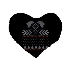 Winter Is Coming Game Of Thrones Ugly Christmas Black Background Standard 16  Premium Heart Shape Cushions by Onesevenart