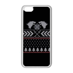 Winter Is Coming Game Of Thrones Ugly Christmas Black Background Apple Iphone 5c Seamless Case (white) by Onesevenart