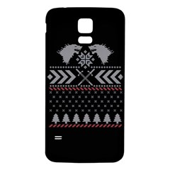 Winter Is Coming Game Of Thrones Ugly Christmas Black Background Samsung Galaxy S5 Back Case (white) by Onesevenart