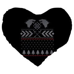 Winter Is Coming Game Of Thrones Ugly Christmas Black Background Large 19  Premium Flano Heart Shape Cushions by Onesevenart