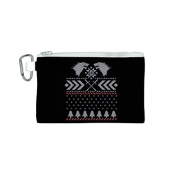Winter Is Coming Game Of Thrones Ugly Christmas Black Background Canvas Cosmetic Bag (s) by Onesevenart