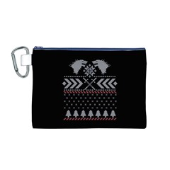 Winter Is Coming Game Of Thrones Ugly Christmas Black Background Canvas Cosmetic Bag (m) by Onesevenart