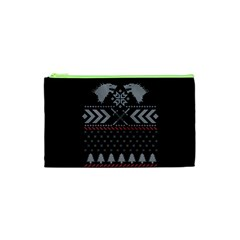 Winter Is Coming Game Of Thrones Ugly Christmas Black Background Cosmetic Bag (xs) by Onesevenart