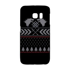 Winter Is Coming Game Of Thrones Ugly Christmas Black Background Galaxy S6 Edge by Onesevenart