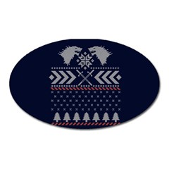 Winter Is Coming Game Of Thrones Ugly Christmas Blue Background Oval Magnet by Onesevenart