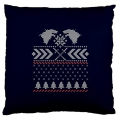Winter Is Coming Game Of Thrones Ugly Christmas Blue Background Large Cushion Case (one Side) by Onesevenart