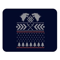 Winter Is Coming Game Of Thrones Ugly Christmas Blue Background Double Sided Flano Blanket (large)  by Onesevenart