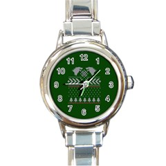 Winter Is Coming Game Of Thrones Ugly Christmas Green Background Round Italian Charm Watch by Onesevenart