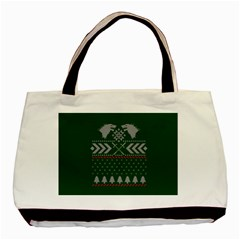 Winter Is Coming Game Of Thrones Ugly Christmas Green Background Basic Tote Bag by Onesevenart