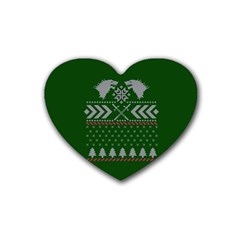 Winter Is Coming Game Of Thrones Ugly Christmas Green Background Rubber Coaster (heart)  by Onesevenart
