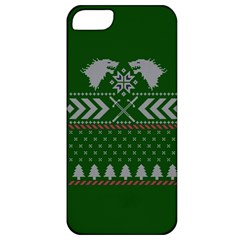 Winter Is Coming Game Of Thrones Ugly Christmas Green Background Apple Iphone 5 Classic Hardshell Case by Onesevenart