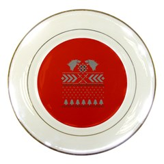 Winter Is Coming Game Of Thrones Ugly Christmas Red Background Porcelain Plates by Onesevenart