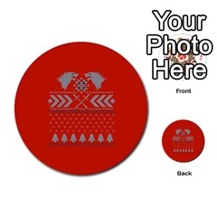 Winter Is Coming Game Of Thrones Ugly Christmas Red Background Multi Purpose Cards (round)  by Onesevenart